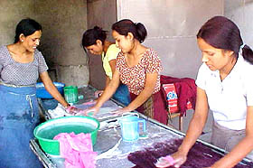 women making felt; one of the Nepal Leprosy Trust's  income generating programmes