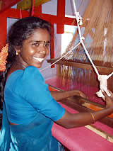woman at a handloom,  south India