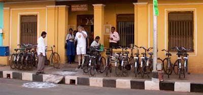 outside MCC, Pondicherry, with the customary neat rows of bikes