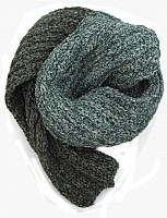Hand knitted scarf Blue Grey