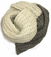 Hand knitted scarf Cream Grey