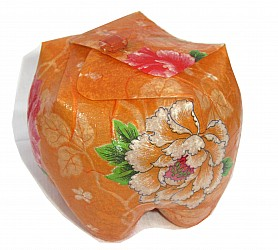 Upcycled gift box orange flower