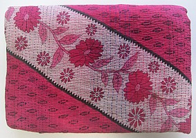 KA Kantha throw red diagonal phool