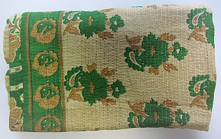KA Kantha throw green flowers