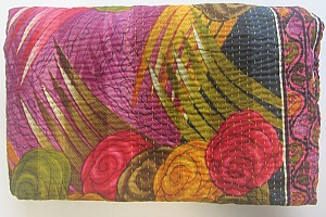 KA Kantha throw roses abstract