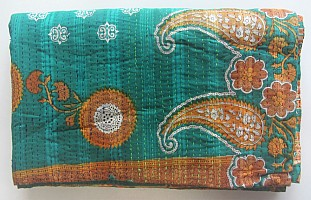 KA Kantha throw paisley  green-blue