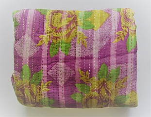 KA Kantha throw lilac pale stripes