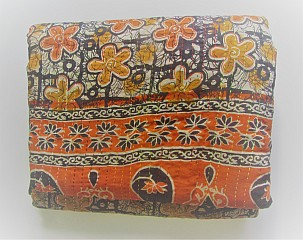 KA Kantha throw orange black