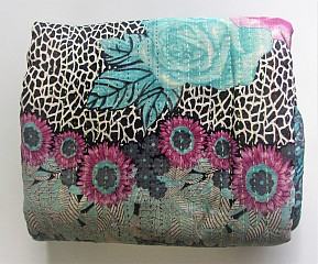 KA Kantha throw blue rose