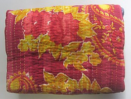 KA Kantha throw red phool paisley