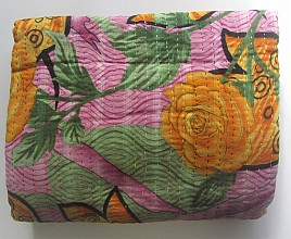 KA Kantha throw pink orange rose