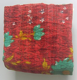 KA Kantha throw red aqua phool